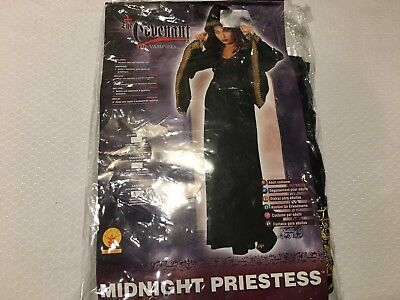 MIDNIGHT PRIESTESS ADULT LADY WITCH HALLOWEEN GOTHIC ROBE COSTUME - SIZE - Size 14 Halloween Costumes