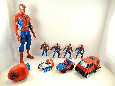 Lot of SPIDER-MAN Action Figures & Buddy L Corp Spider-man Van + 2 More Vehicles