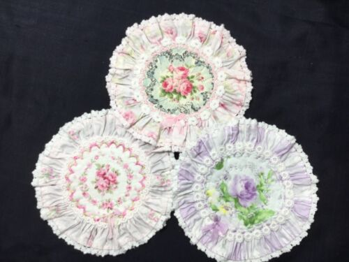 3 Scatterbout~coasters Pretty Yuwa Roses + Ruffles  fancy stitching and laces