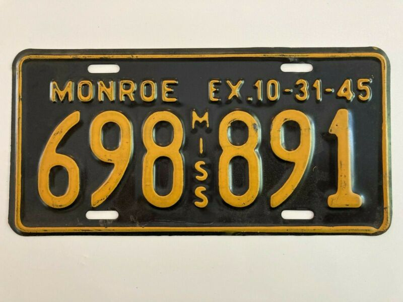 1945 Mississippi License Plate Monroe County ALL ORIGINAL WWII