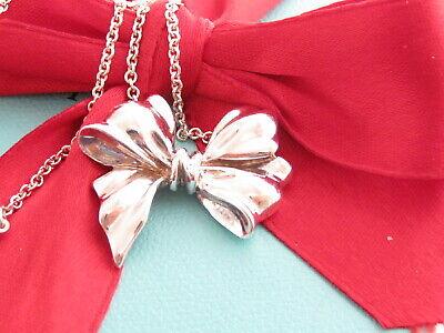 Tiffany & Co Silver Vintage Large Bow Ribbon Pendant Necklace (Tiffany Bow)