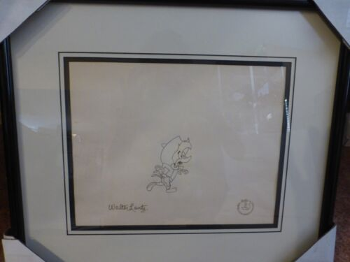 Original Animation Drawing of Woody Woodpecker Signed by Walter Lantz
