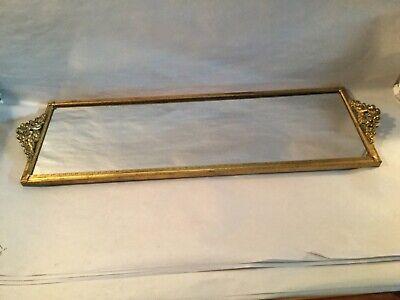 Vtg Vanity Perfume Mirror Dresser Tray-Ornate Gd Frame-Cherubs-Matson Style-EUC Mirrored Dresser Tray