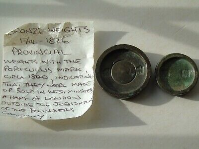 2 Georgian Bronze Weights 1oz and 1/4oz local Westminster Portcullis Marks
