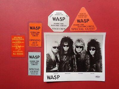 WASP,1 promo photo,5 Rare  Original backstage passes