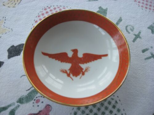 Vintage Japanese Porcelain Ware Bowl Hand Decorated in Hong Kong American Eagle