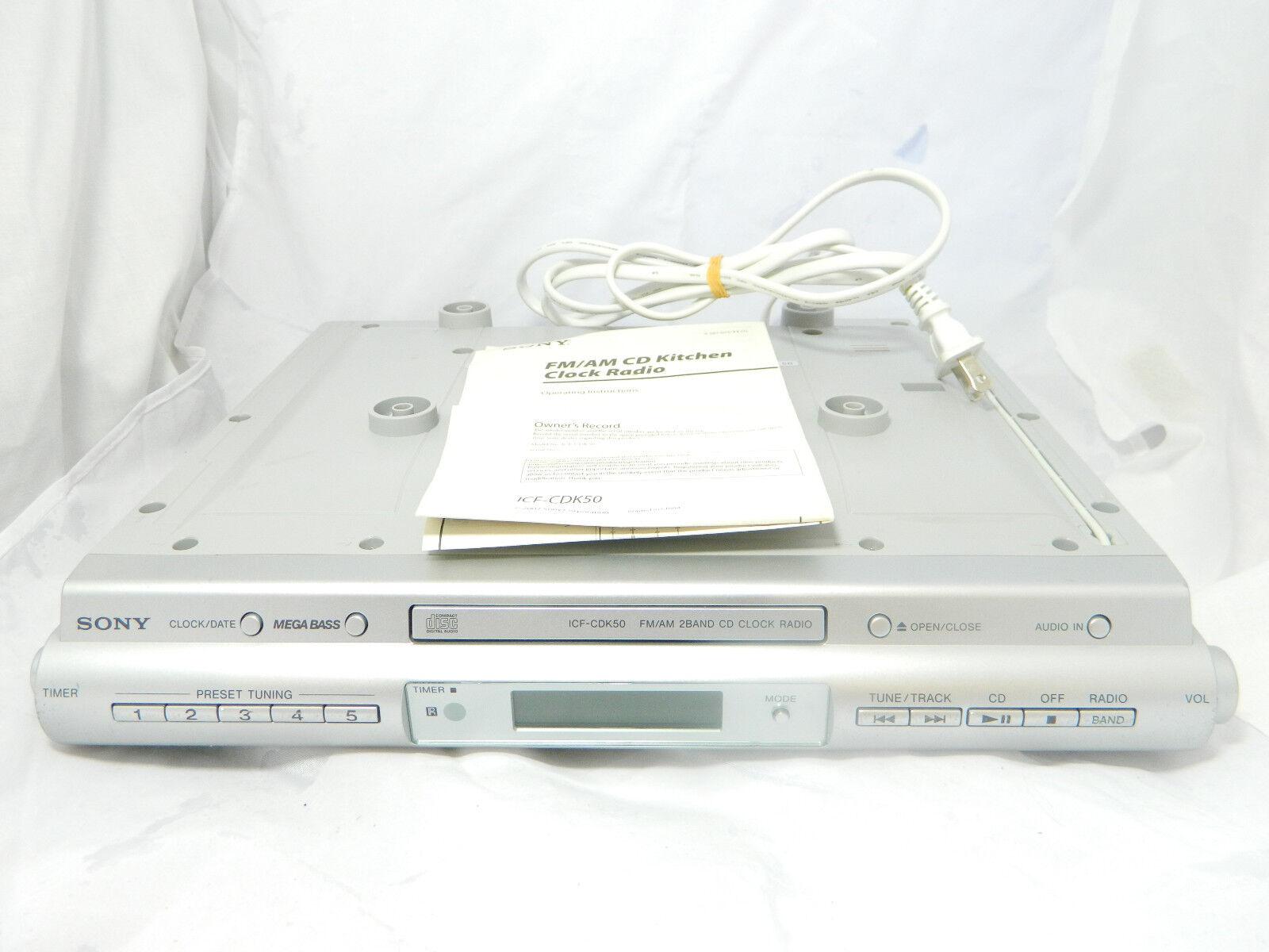 Sony ICF-CDK50 Under Cabinet CD Player Clock Radio Timer w/ Manual AM/FM Kitchen