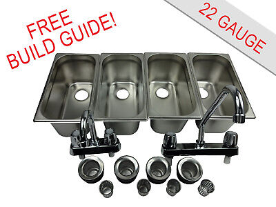 Standard 4 Compartment Sink Set Hand Washing For Concession Stand Food Trailer