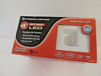 Lithonia Lighting 4 in. White Dimmable LED Square Lighting Kit New In Box