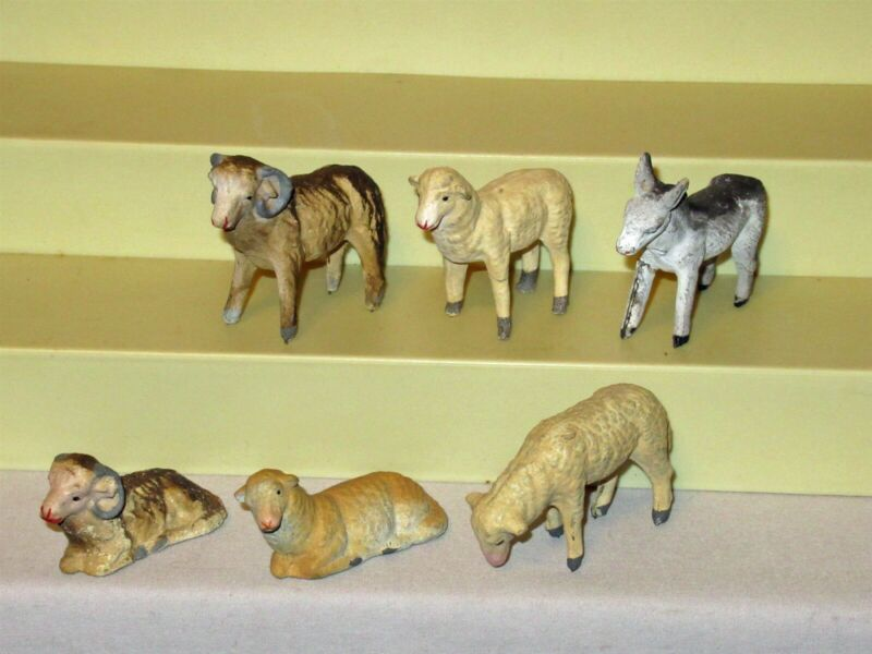"Lot 6 Vtg Italy Xmas Putz Nativity 2.5"" chalk composition rod legs sheep ram"