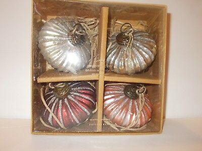 NEW POTTERY BARN MERCURY GLASS ONION ORNAMENT SET OF 4 CHRISTMAS - Glass Ornaments Bulk