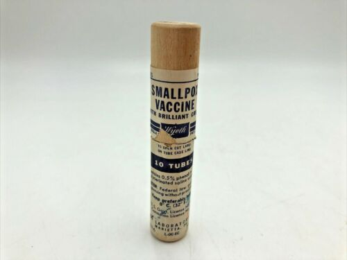 1950s Smallpox Vaccine Empty USED Wood Tube with Label Date Stamped #1