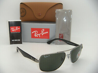 New Authentic Ray-Ban RB 3483 004/58 60mm Gunmetal Frame Green Polarized (Ray Ban Green Polarized)