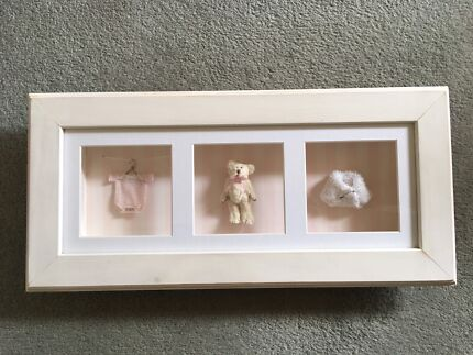 Attractive White Washed Timber Baby Girlu0027s Shadow Box