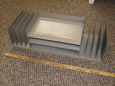 30 Vtg Mid Century Metal Industrial Organizer Office Desk Letter Tray File Pape