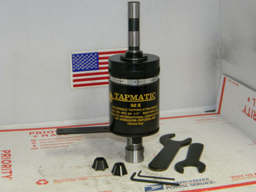 "Tapmatic 50X Reversible Tapping Attachment, 5/8"" Shank, 2 collets,Wrenches"