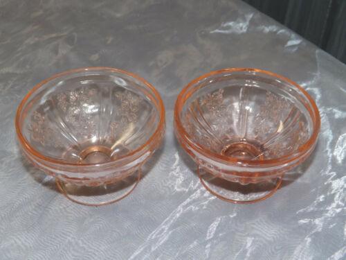 Federal Pink Depression Glass 2 Sharon Cabbage Rose Sherbet Dishes