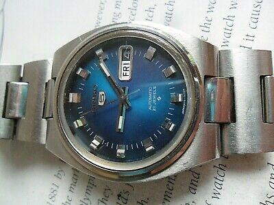 Blue Dial Vintage 1974 Men's Seiko 5 21J Automatic Watch 6119-7460 w/ Band Runs