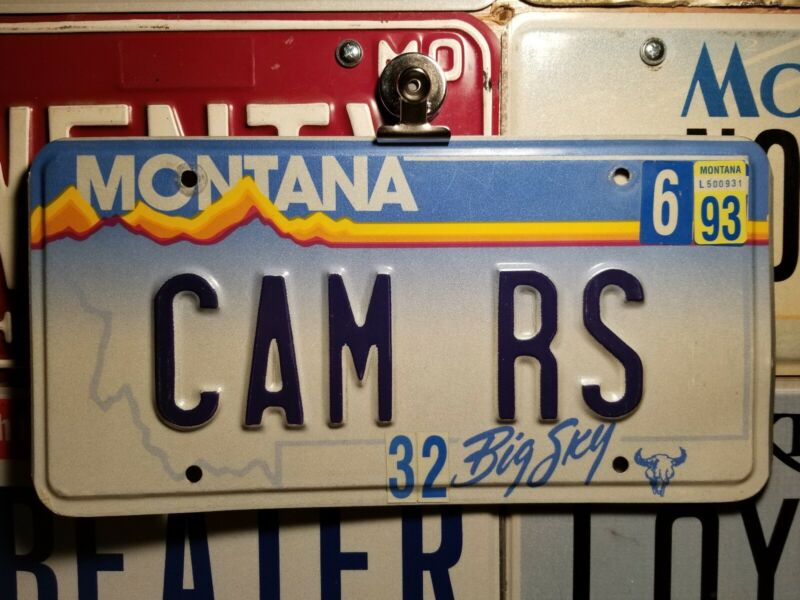 1993 Montana vanity license plate CAM RS, Chevy Camaro SS, RS, Chevrolet, cammed