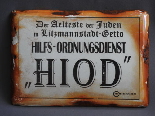 WW2 German Enameled Metal Sign used in LITZMANNSTADT LODZ GETTO GHETTO POLAND
