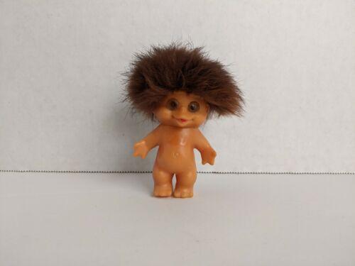 "EXTREMELY RARE Baby Moon Goon Troll ~3"" Rabbit Fur Hair Peanut Image Back Japan"