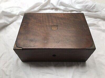 Antique Wooden Writing Slope, Brass Corners, Unrestored, Needs Restoration, Box