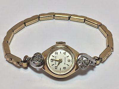 Vintage 14K Gold & Diamond Benrus Ladies Swiss Watch With GF Band