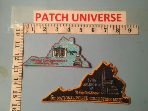 VINTAGE LOT OF 2 DIFFERENT NATIONAL POLICE COLLECTORS MEET  PATCHES  M075