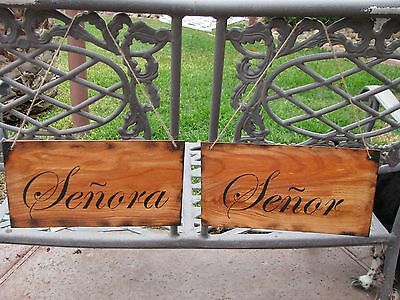 Senor and Senora Wedding chair signs Cottage Distressed hand made wood shabby