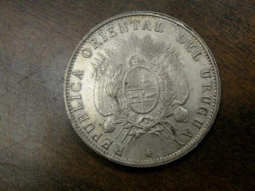 1894 Uruguay 50 Centesimos Silver Coin Km #16 *Looks AU+*
