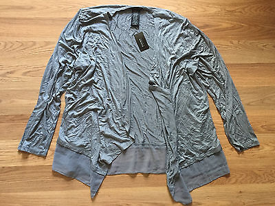 NWT Womens Design History Silver Gray Light Weight Drape Front Cardigan M Medium