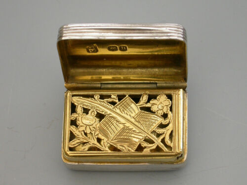"""George IV Silver Vinaigrette """"Quill Pen & Book Grille"""" William Edwards 1823"""