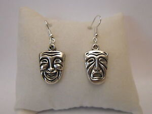 Drama Face Mask Necklace Or Earrings SILVER OR SILVER PLATED WIRES CLIP ON