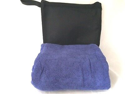 LARGE Quick Dry Microfiber Towel DOG GROOMING Cleaning Drying Mesh Bag DARK BLUE