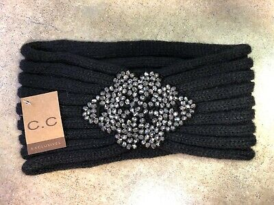 CC Exclusives Black Knit Bead Embellished Headwrap Headband Ear Warmer Muffler