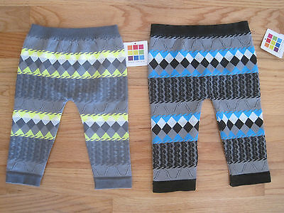 Girl NEON YELLOW BLUE GRAY PATTERN TEXTURE FOOTLESS TIGHTS LEGGINGS 12m 18m 24m (Neon Blue Tights)