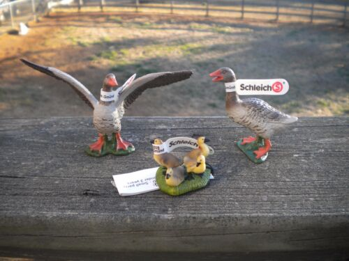 Goose Family by Schleich/RETIRED/gander/goslings