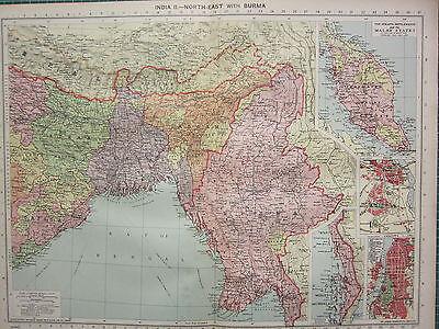 1940 MAP ~ INDIA NORTH-EAST with BURMA MALAY STATES DELHI CALCUTTA CITY PLANS