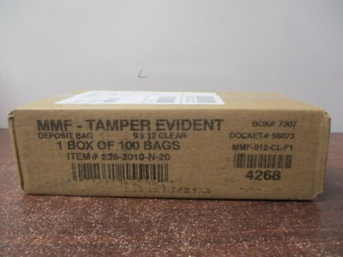 """MMF Industries Tamper-Evident Deposit Bags, 9"""" x 12"""", Clear, Box Of 100"""