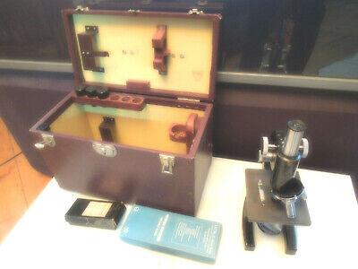Vtg Bausch Lomb Usa Student Schools Laboratory 3-objective Microscope W Case