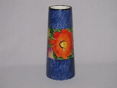 Vintage Czechoslovakia Art Deco Vase Blue with Flowers Hand Painted Czech