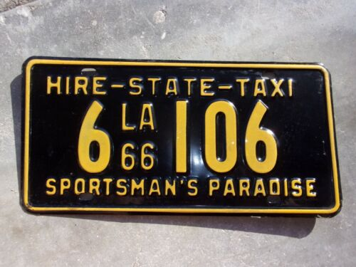 Louisiana 1966 Hire - State - Taxi license plate  #  6  106