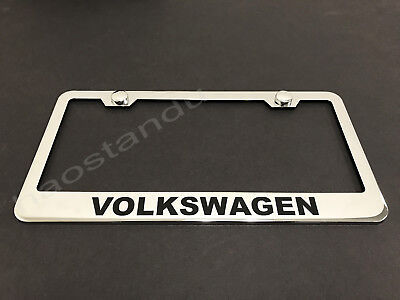 *PASSAT* mirror Stainless Steel license plate frame w//s.caps SB