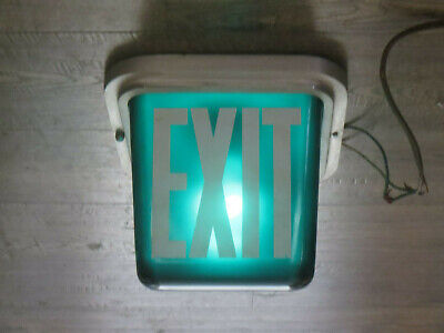 Vintage Lighted Exit Sign Glass Green With White Ceiling Mount