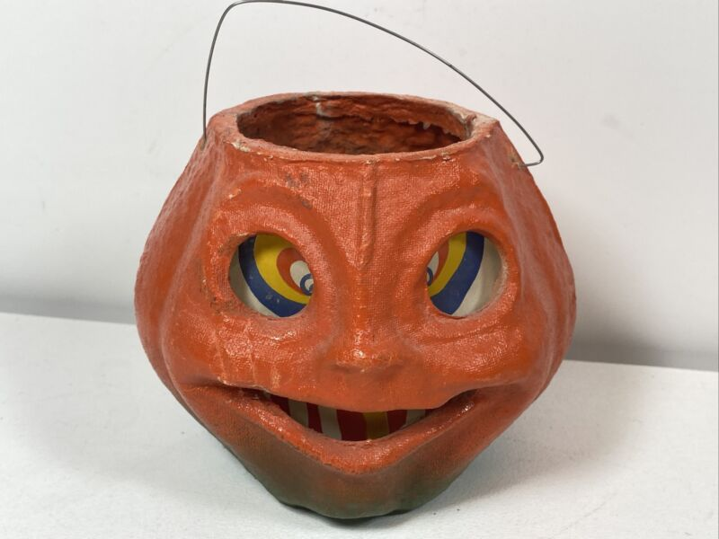 Vintage Halloween Paper Mache Pumpkin Jack-O-Lantern 1940