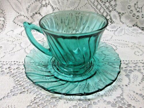 VINTAGE JEANNETTE ULTRAMARINE PETAL SWIRL TEAL DEPRESSION GLASS CUP AND SAUCER