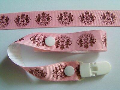 A GORGEOUS PINK GIRLS DUMMY CLIP /PACIFIER / TOY CLIP (NEW)