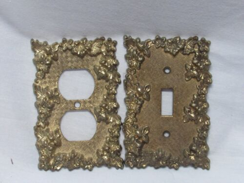 VINTAGE ORNATE SOLID BRASS LIGHT SWITCH PLATE ELECTRIC OUTLET COVER AMERICAN