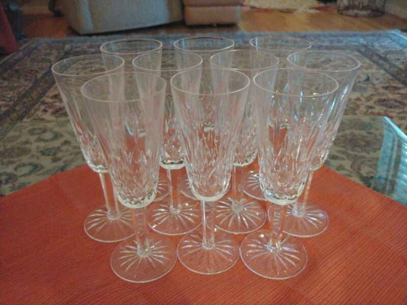 10 Waterford crystal champagne flutes