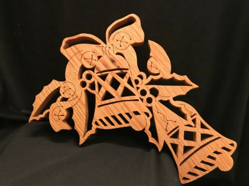 Handmade Lazer Cut Oak Christmas Bells Craft Collectible Decoration 9 x 11.5 x 1